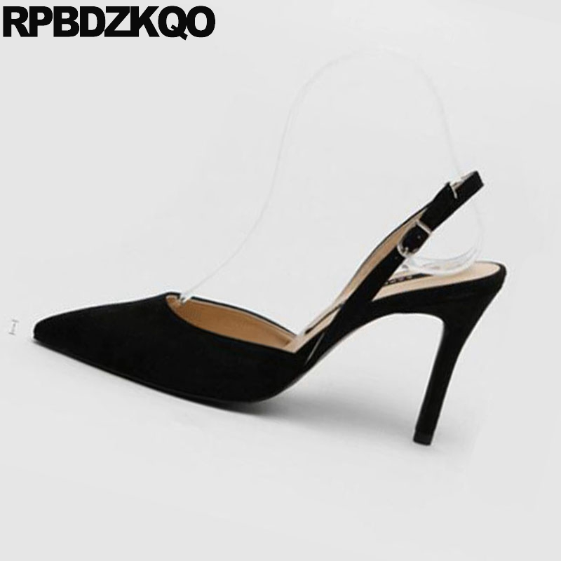ecd823a3a02a Slingback 3 Inch Super Shoes Big Size Scarpin Ladies Extreme Pumps Sandals Black  Suede Nude Pointed