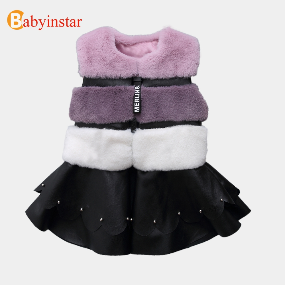 Babyinstar Baby Girls Fur Waistcoats 2018 Autumn&Winter Fashion Warm Faux Fur Patchwork Children Clothes Kids Hit Color Vest цена 2017