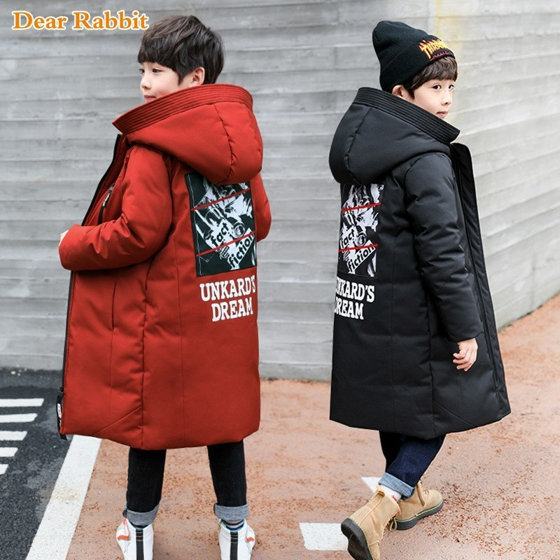 Image 2 -  30 degree children clothing boy clothes warm winter down cotton jacket Hooded coat Teen thicken outerwear kids waterproof parka-in Down & Parkas from Mother & Kids
