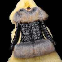 Plus size New Fashion 100% Real Leather jacket,Large Raccoon Fur collar Slim Genuine leather down coat Free shipping FQ3307