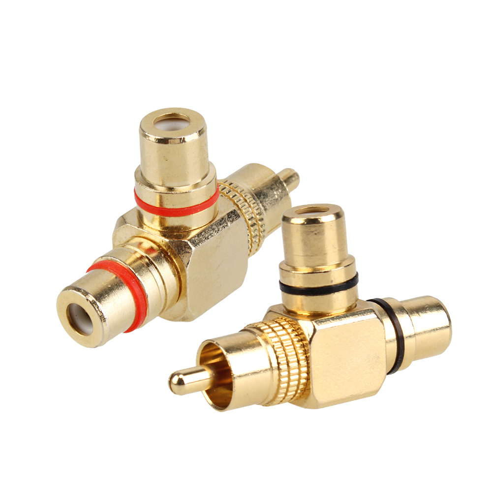 2pcs Gold Plated 1 Male to 2 Female RCA Splitter Adapter AV Video Audio Right Angle jt 1699 gold plated rca male to rca female adapter yellow white