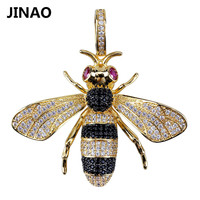 Iced Out Golden Silver Color Pendant & Necklaces Honeycomb Bee Animal Pendant Women Men Trendy Lovely Charm Chains Gifts