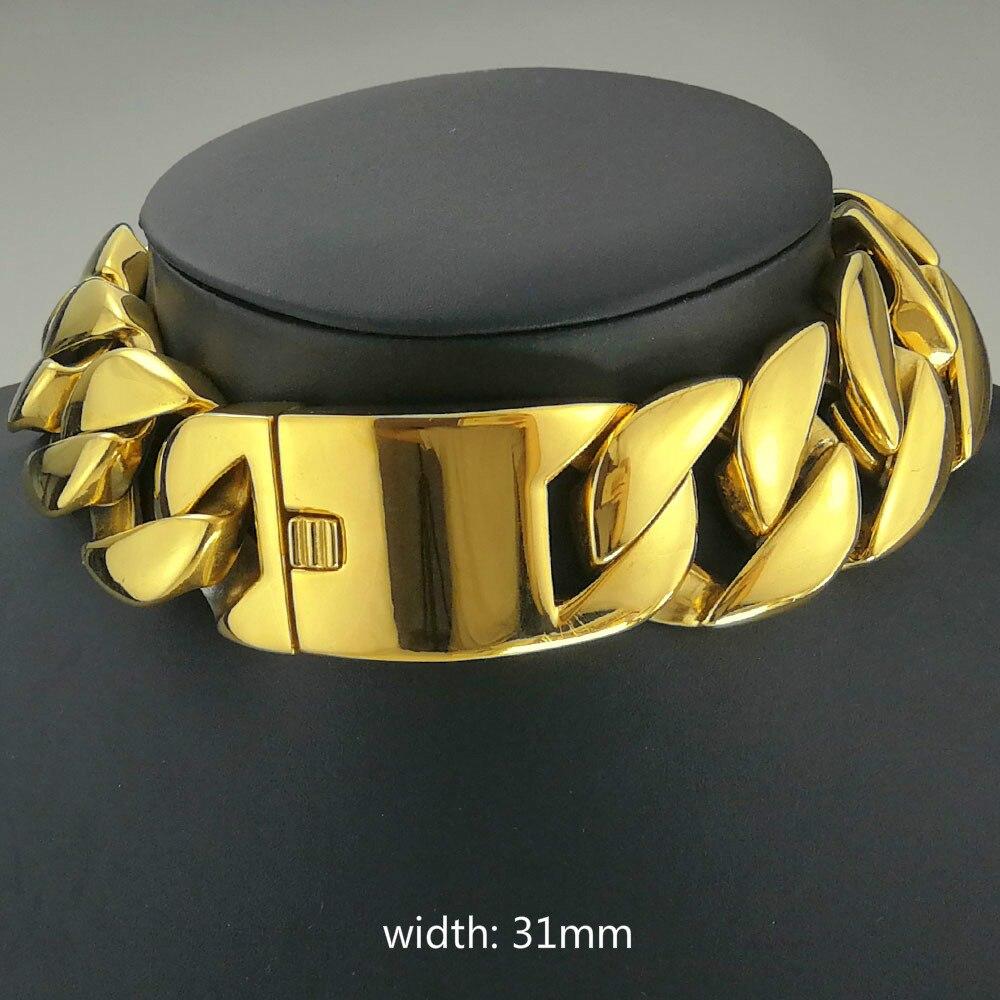 Or 18k rempli acier inoxydable 316L tout poli 31mm largeur très lourde longue chaîne 40-55cm collier bijoux N397