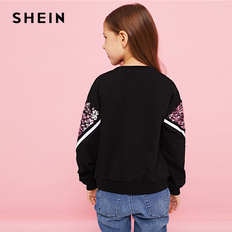 Image 2 - SHEIN Kiddie Contrast Sequin Casual Pullover Sweatshirts For Girls Tops 2019 Spring Korean Long Sleeve Kids Teenager Clothes-in Hoodies & Sweatshirts from Mother & Kids