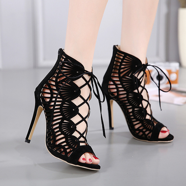2019 Gladiator Roman Summer Sandals Cross-tied Boots Women New Sexy Hollow Peep Toe High Heels Shoes Woman Stiletto 688