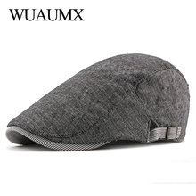 Wuaumx Summer Berets Hat Men Thin Newsboy Caps Women Artist Painter Visors Mens Beret Cap Herringbone Flat Adjustable