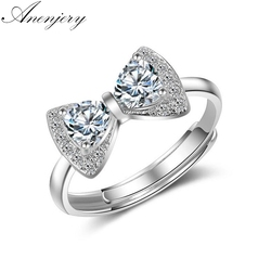 ANENJERY 925 Sterling Silver Luxury Classic Wedding Ring AAA CZ Zircon Bowknot Rings For Women anillos Resizable S-R179