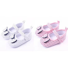 New Infant Girl Anti-slip Sole Cute Soft Comfortable Big Bow Polka Dot Shoe Sneaker Newborn for 3-12Months Baby(China)
