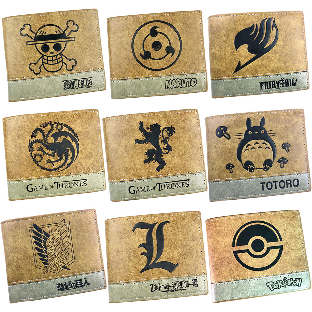 Anime One Piece Dragon Ball Naruto Game Of Thrones Vintage Leather Short Purse Male Men Wallet Credit Card Holder Gift Man Women