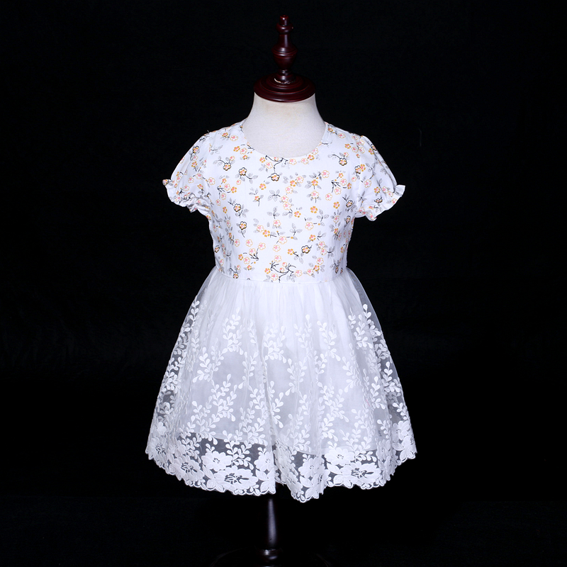 Summer children baby girl embroidery lace evening dress toddle princess floral beach dress flower girls birthday party dresses