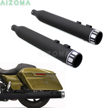 Bagger 4 Roaring Series Slip-On Exhaust Pipe w/ Chrome End Cap For Harley Touring Road King Street Glide 1995-Up Black Mufflers