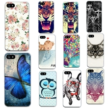 Animal Print Case For Apple Iphone 4 4S 5 5S SE 6 6S 7 7 Plus Phone Bags Cases Soft Transparent Side TPU Skin Cover For Iphone