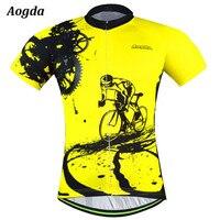 Vélo équipe 2018 femmes/hommes jaune spandex maillot hauts/manches courtes vélo vêtements d'été style Pro VTT vélo Jersey Chemise