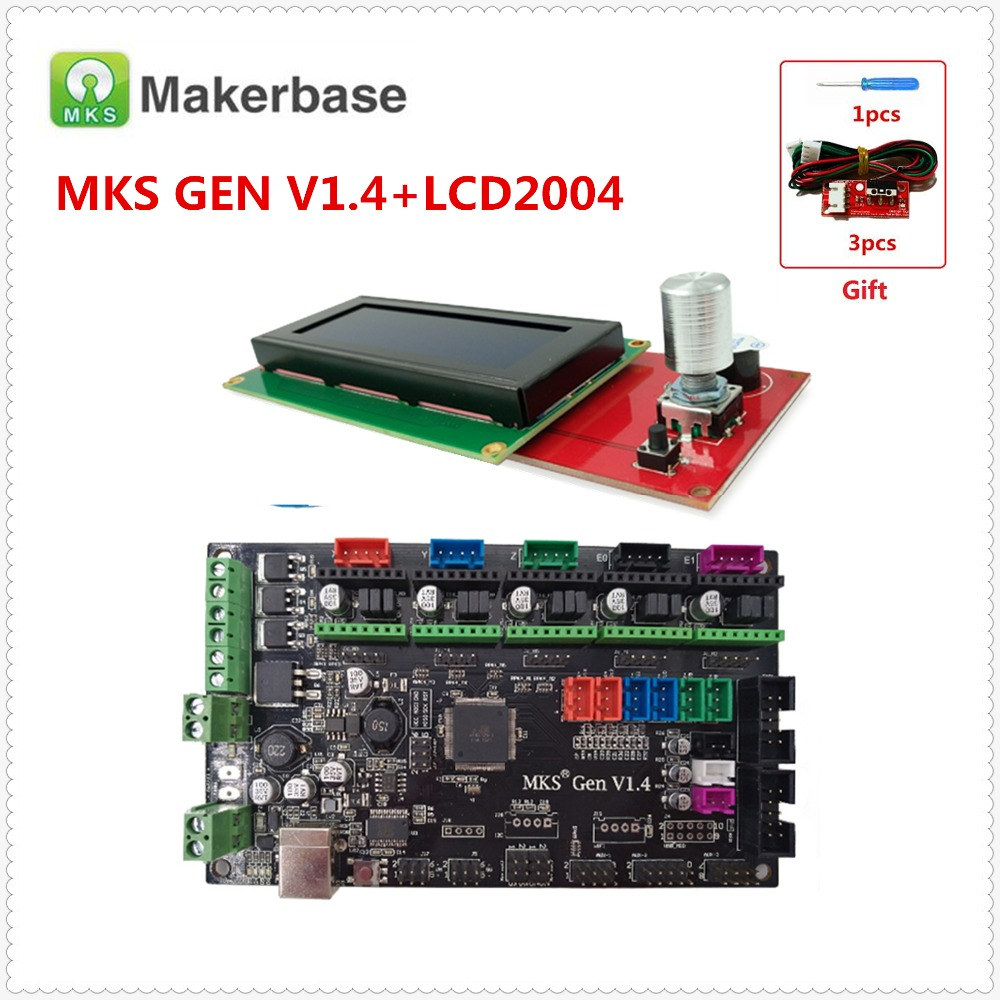 3d drucker kit MKS GEN V1.4 motherboard + LCD2004 panel DIY beginer kit ramps1.4 mega2560 mainboard Kossel Rampen elektronik