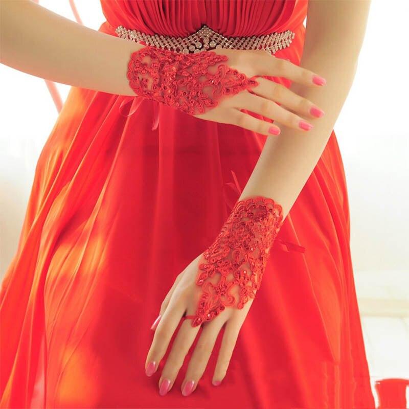 2019 Fashion Women Bridal Bride Elegant Short Rhinestone White Red Lace Fingerless Gloves Wedding Cheap Barato Accessories