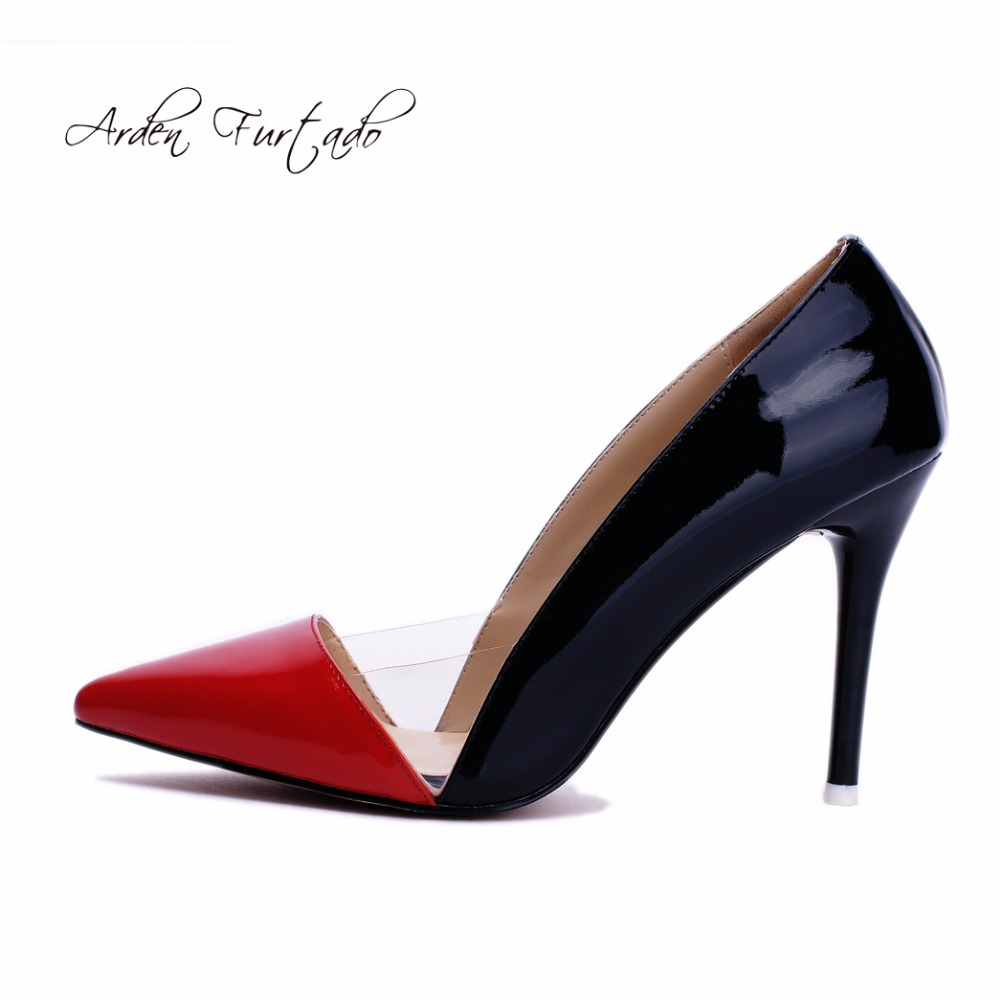 2017 New Style Fashion High Heels Pumps Party Shoes Genuine Patent Leather Gold Stilettos Women