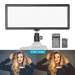 Neewer Slim Bi-Color Ultra High Power Dimmable LED Video Light with LCD Display, Battery and Charger 3200K-5600K for DSLR Camera