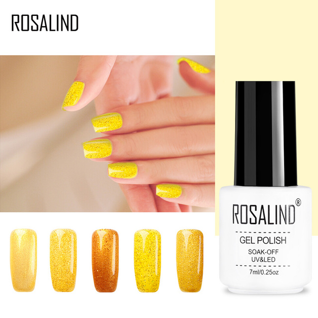 Rosalind Gel 1s 7ml Little White Bottle Yellow Color Diamond Glitter