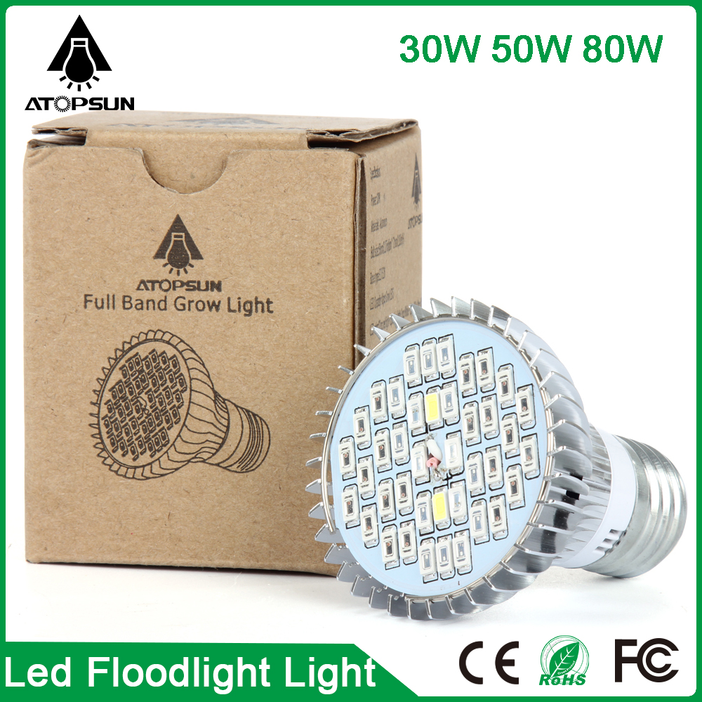 1PCS Newest Full Spectrum Led Grow Light E27 30W 50W 80W for Hydroponic System Indoor Medical