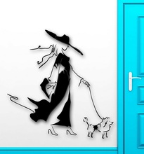 Fashion girl wall decal fashion style Walking the dog vinyl wall stickers home shop decoration painting pet shop murals MV02 russian fashion shop