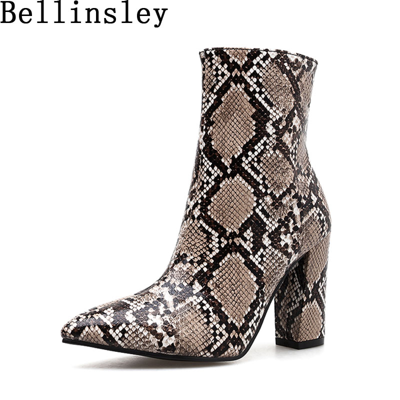 Bellinsley Snake Print Women Zip Ankle Boots Square Heels Sexy Pointed Toe Female Boots Sexy Ladies Shoes Winter Chelsea Boot
