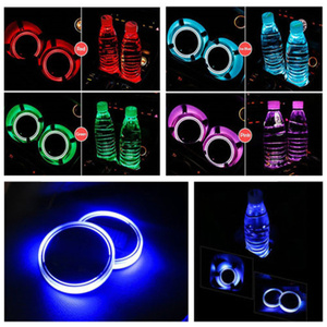 Image 5 - 2X Car LED Light Cup Holder Automotive Interior USB Colorful Atmosphere Lights Lamp Drink Holder Anti Slip Mat Auto Products