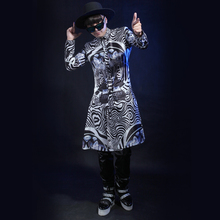 Fashion punk style Leopard print long coat male singer show wear jacket stage show nightclub dress costume party slim outerwear