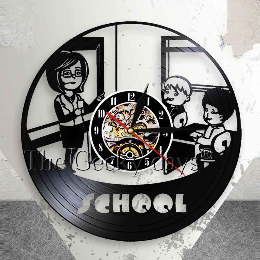 Teacher And Students School Kindergarten Wall Clock Nusery Educational Decor Vinyl Recor ...