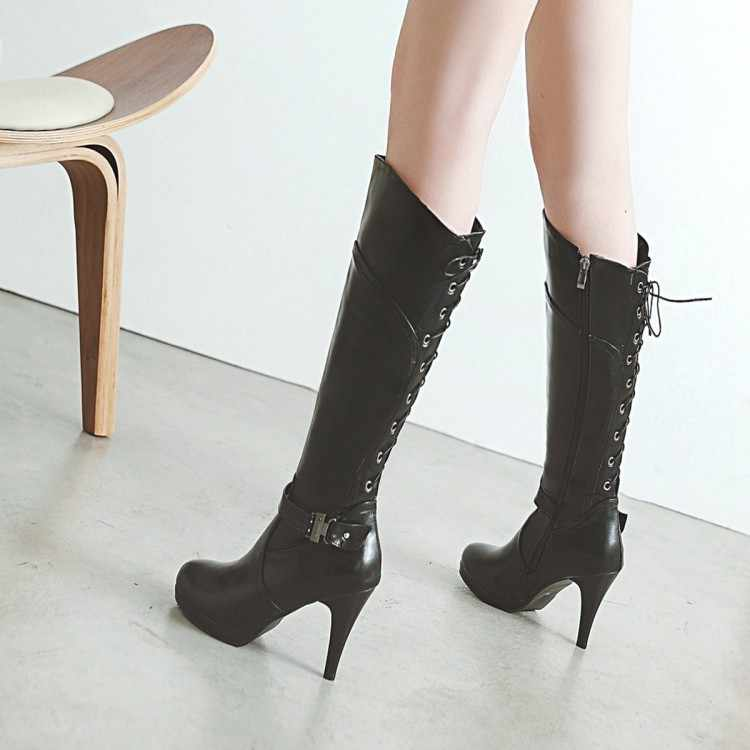 Grande Size9 10 11-17 coxa botas altas joelho botas altas sobre o joelho botas mulheres senhoras botas de Lado zipper voltar cross strap
