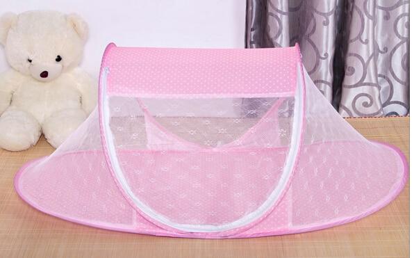 110 62 55cm summer Baby Crib baby travel bed Baby Crib With Mosquito Netting Cute dot