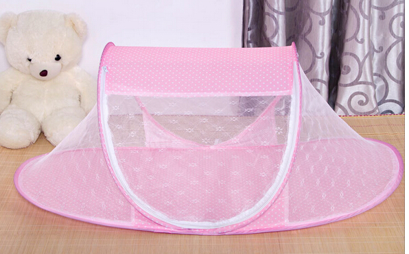 110*62*55cm summer Baby Crib baby travel bed Baby Crib With Mosquito Netting Cute dot Portable Baby Bed Kids Bedding Folding