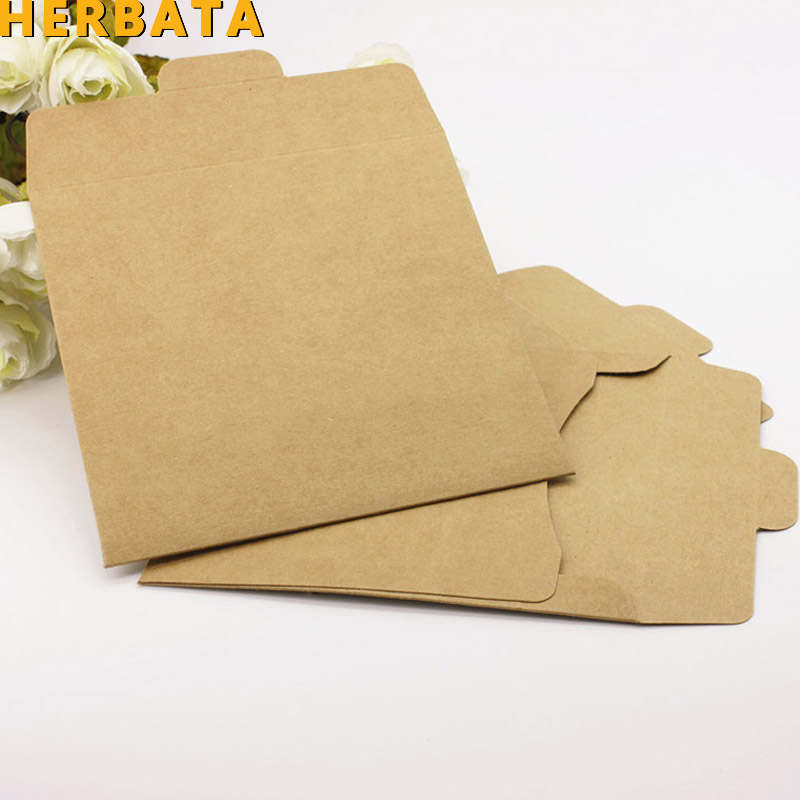 HERBATA (10pcs/lot) 250gsm Kraft CD Paper Case Blank Kraft Envelopes Natural Color Plain Kraft Paper Gift Envelope CD/DVD Paper