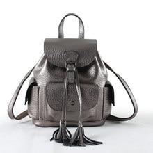 Borla de la manera del cordón de las mujeres mochila de diseño de alta cuero genuino colleage mochilas pequeñas damas de viaje mochilas 6 colores