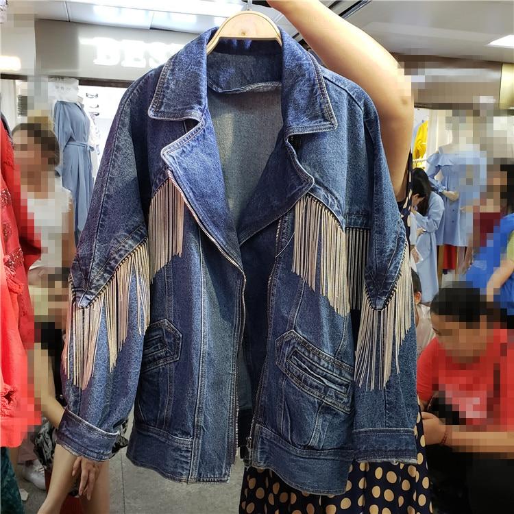 Femmes bleu chaîne gland veste en jean surdimensionné cowboy turn down colllar manches longues fermeture éclair femmes jeans vestes