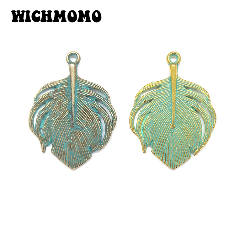 10pcs/bag 33MM Retro Patina Plated Zinc Alloy Green Peacock Feather Charms Pendants For DIY Jewelry Accessories PJ014