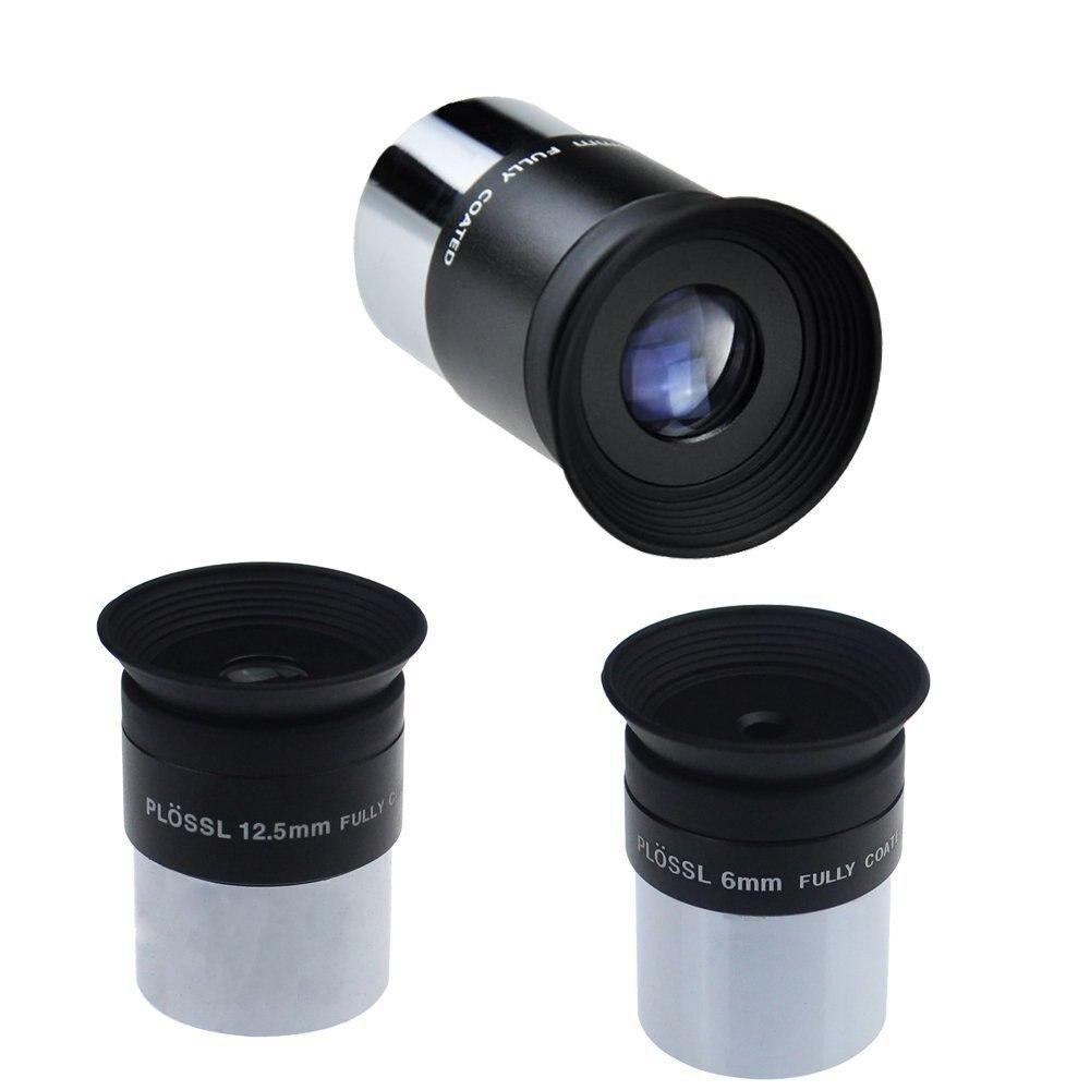 Ensemble d'oculaire de télescope Plossl de 6mm 12.5mm 20mm 1.25 pouces 4 éléments de conception Plossl filetés pour les filtres d'astronomie Standard de 1.25 pouces