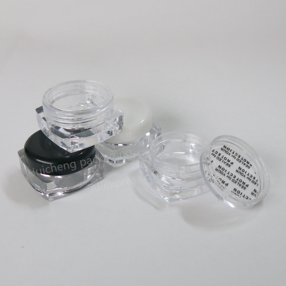 100 X 3g clear square cream jar black cosmetic container  plastic bottle sample jar 10 50pcs 18 24r white black clear plastic powder press pump head nozzle for cosmetic lotion emulsion bottle with clear full cap