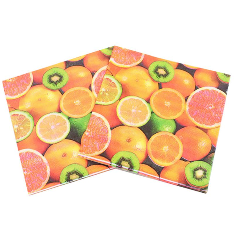 20 pcs Paper Napkins Colorful Tissue Printed Napkin Diverse Fruit Pattern Party Festive & Party Decoration Products