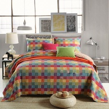 3 Piece Vintage Patchwork Quilt Handmade quilted bed cover Washed cotton quilts Bedspreads sheet queen King size bedding