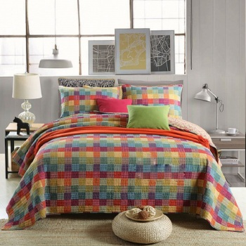 CHAUSUB Bedspreads For Bed Quilt Set 3PC Coverlet Quilted Bed Cover Washed Cotton Quilts Rainbow King Queen Size Summer Blanket summer bedspread queen size geometric printed double quilts and duvets for adults thin air conditioned comfortercolcha for bed