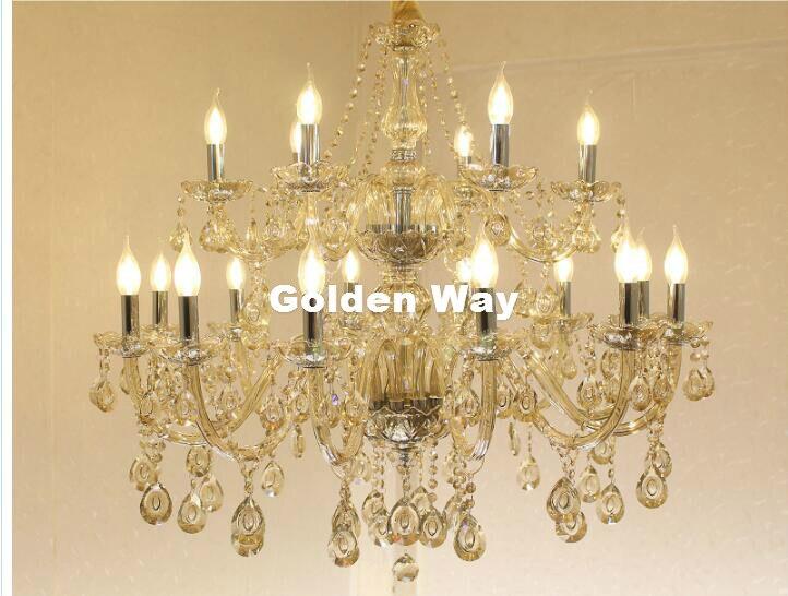 Free Shipping Cognac Crystal Chandelier Lighting Fixture Luxury 18L LED Large Crystal Lustres de cristal Living Room chandelier
