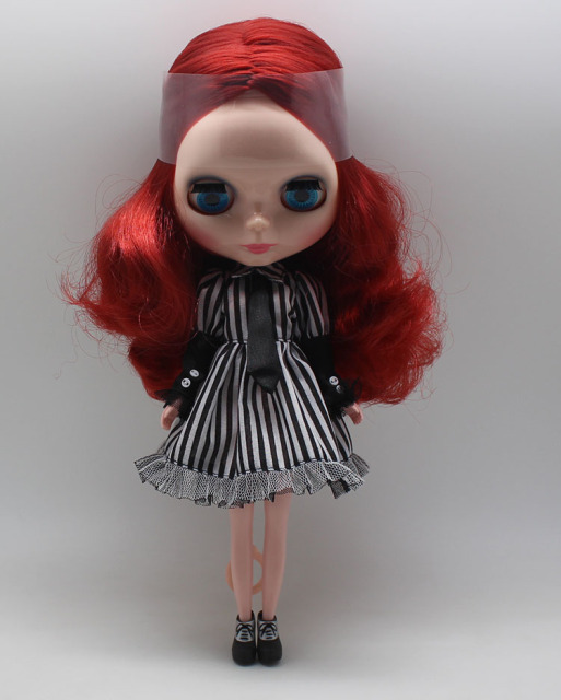 Neo Blythe Gothic Clothes Stripe Dress High Heels Combo