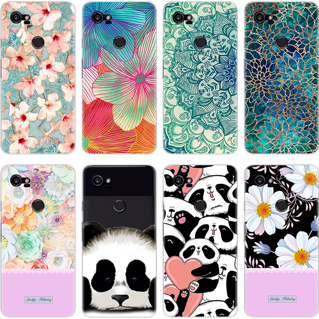 new concept 882a7 c4cc3 US $1.13 14% OFF Phone Case Luxury For Google Pixel 2 XL Panda Fundas Cover  Ultra Thin Soft TPU Coque For Google Pixel 2 XL Silicone Flower Case-in ...