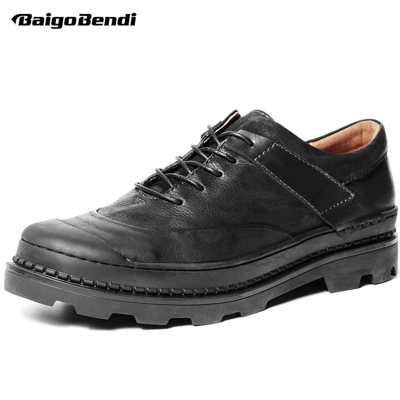 New Spring Mens Thick Heel Heightened Shoes Business Man Genuine Leather Retro Casual Oxfords Height Increase Wedding Shoes top quality crocodile grain black oxfords mens dress shoes genuine leather business shoes mens formal wedding shoes