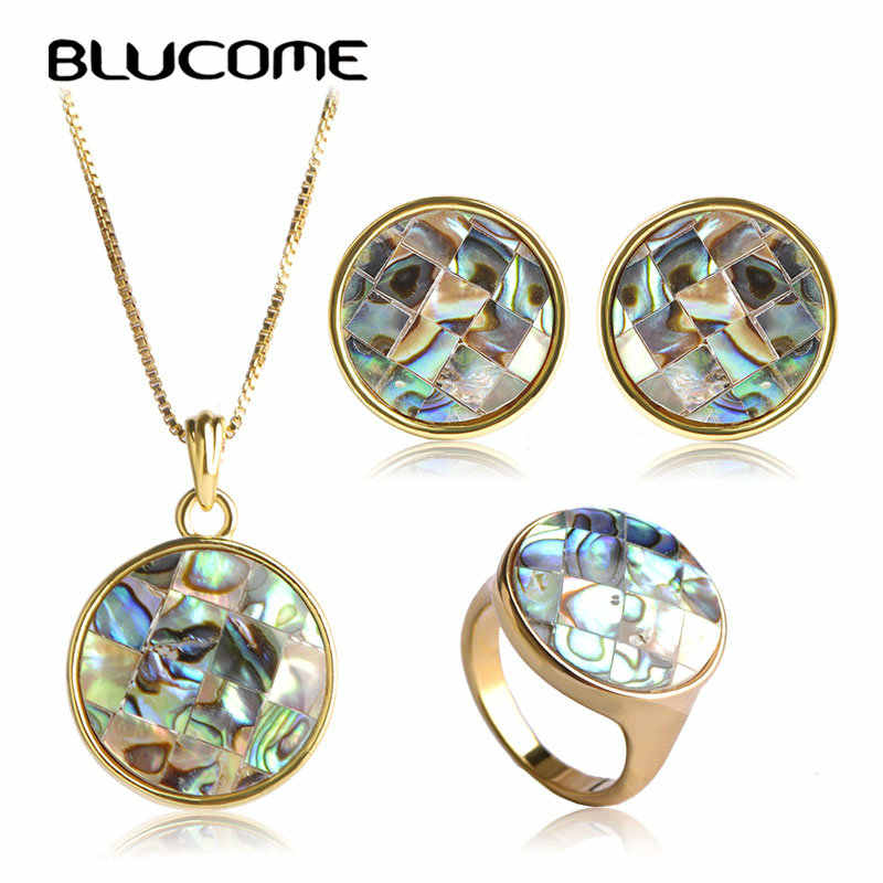 Blucome Classic Wedding Accessories Round Abalone Shell Jewelry Sets Women Necklace Earrings Ring Set Colares Round Brincos Anel