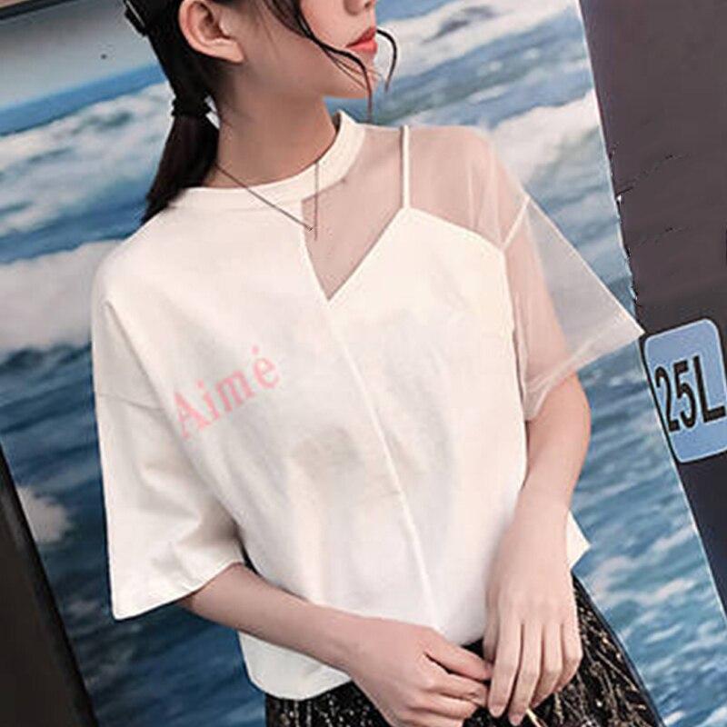 Sexy Patchwork Mesh Tops Summer Women T-shirt Korean Style Round Collar Short Sleeve Tee Shirt Femme Streetwear T Shirt Blusas(China)