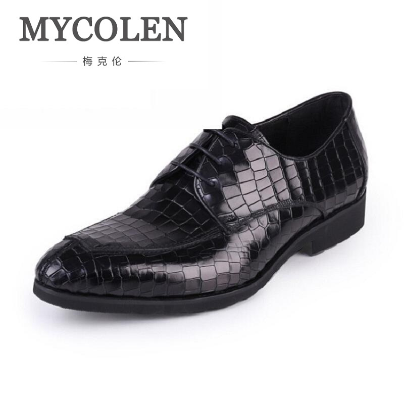 MYCOLEN Men Luxury Business Leather Shoes Classic Men Derby Shoes Men Flats Pointed Toe Comfortable Office Dress Shoes Black classic men s genuine leather shoes cowhide leather pig inner pointed toe derby dress wedding business shoes 2018 fashion