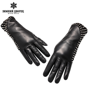 Image 3 - Guantes de cuero auténtico estilo Punk para mujer, guantes de cuero para abrigo, guantes de invierno de estilo Popular, con remaches