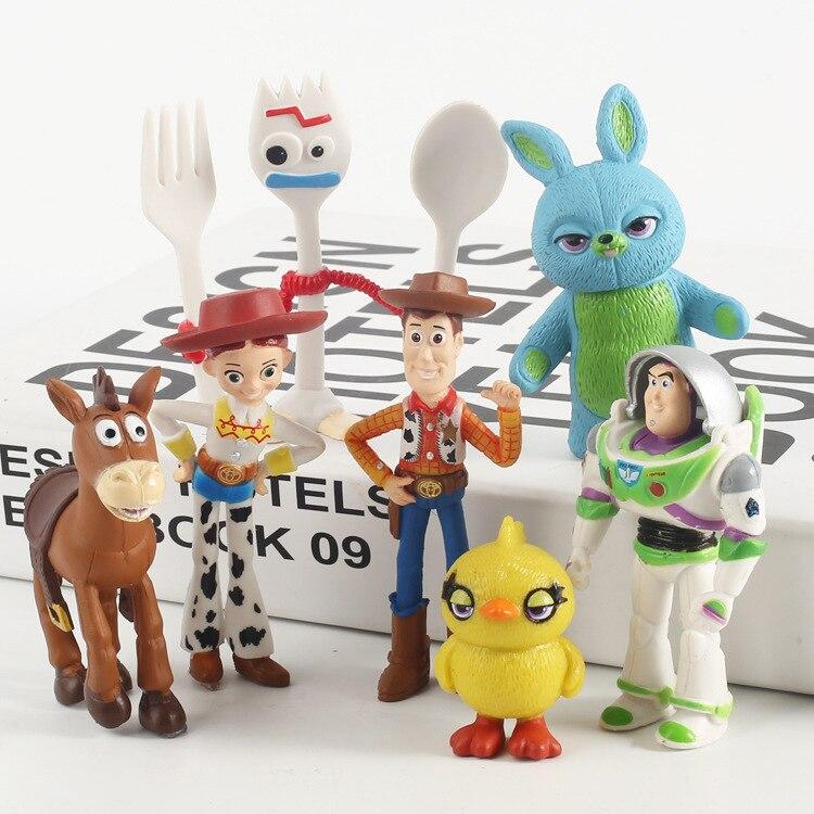 7 pcs/set Story 4  Buzz Lightyear Woody Jessie Forky Bunny Ducky Duke  Figure Toys