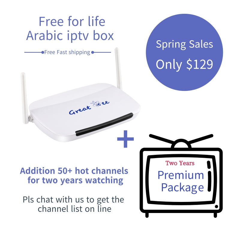 Great bee Lifetime free Arabic Iptv box Supply over 400 Channel with 50 paid two years